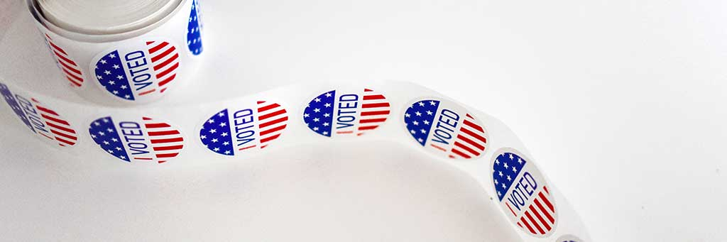"Stock image of ""I Voted"" stickers."